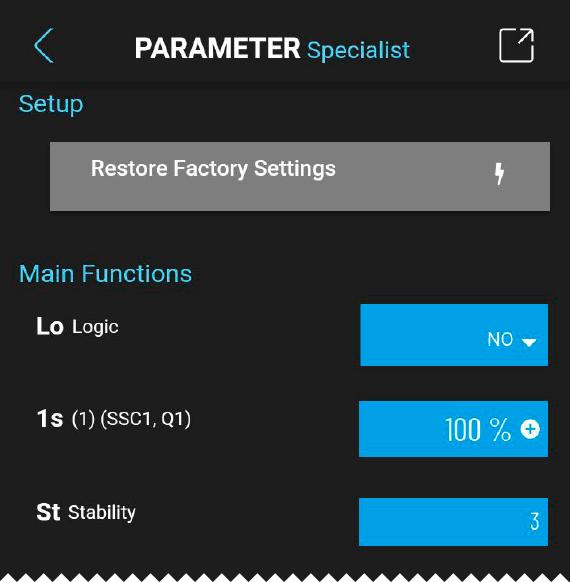 di-soric IOL – Screen Parameter